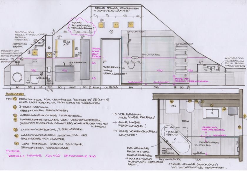 Zeichnung Grundriss Bad mit Dachschrägen